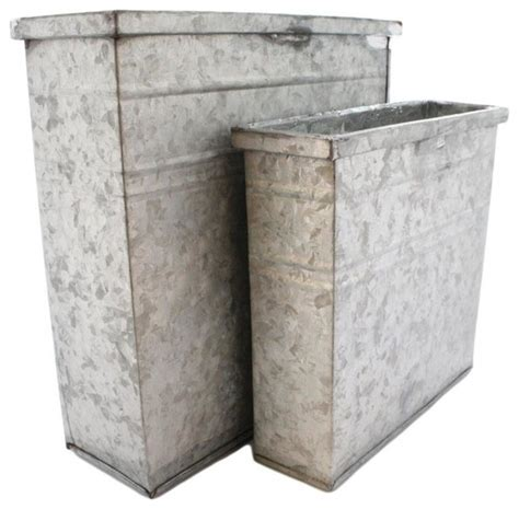 Rectangular Galvanized Planter by Galvanized Rectangle Container Set Of 2 Industrial