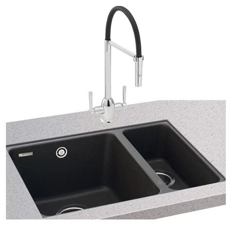 black kitchen sinks uk carron phoenix fiji150 16 undermount granite sink in