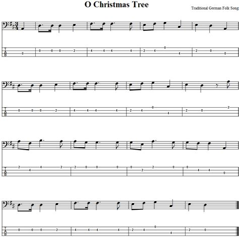 o christmas tree bass guitar tab and sheet music