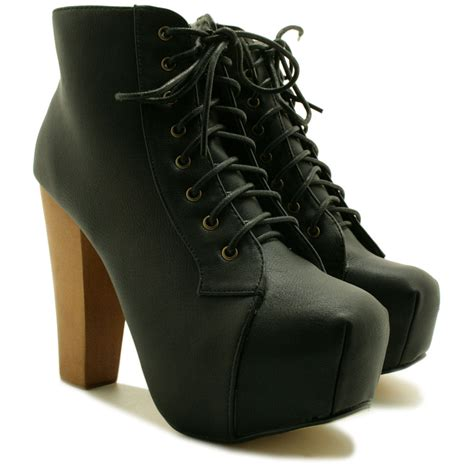 new womens lace up wooden block heel concealed platform