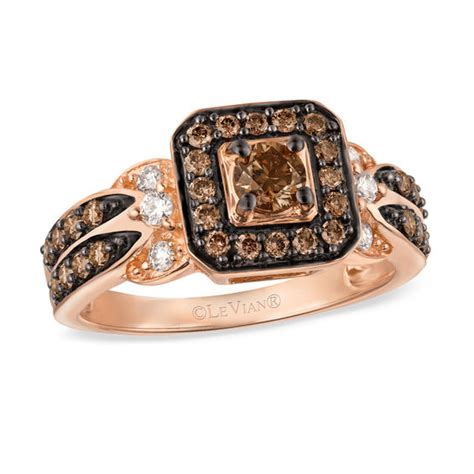 le vian chocolate diamonds 174 7 8 ct t w diamond square frame ring in 14k strawberry gold