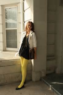 Light Blue Wool Coat Bright Yellow Pantyhose Black Dress And Flots With White