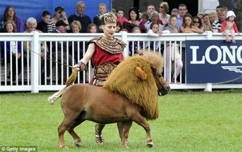 Performer luma the lion who is a shetland pony dressed as a lion