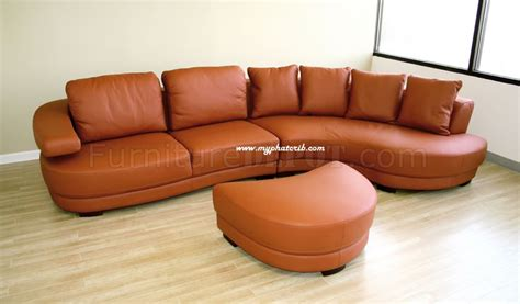burnt orange leather sectional sofa curved sectional sofa in burnt orange leather