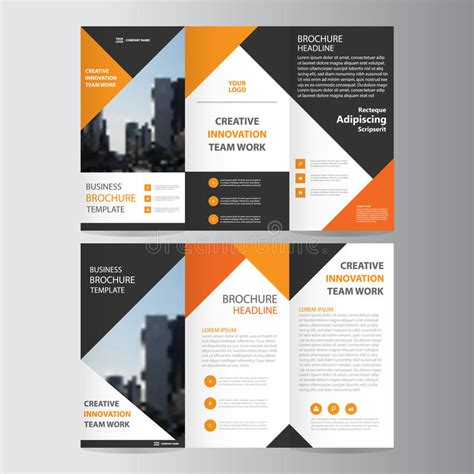 black brochure template abstract orange black triangle trifold leaflet brochure