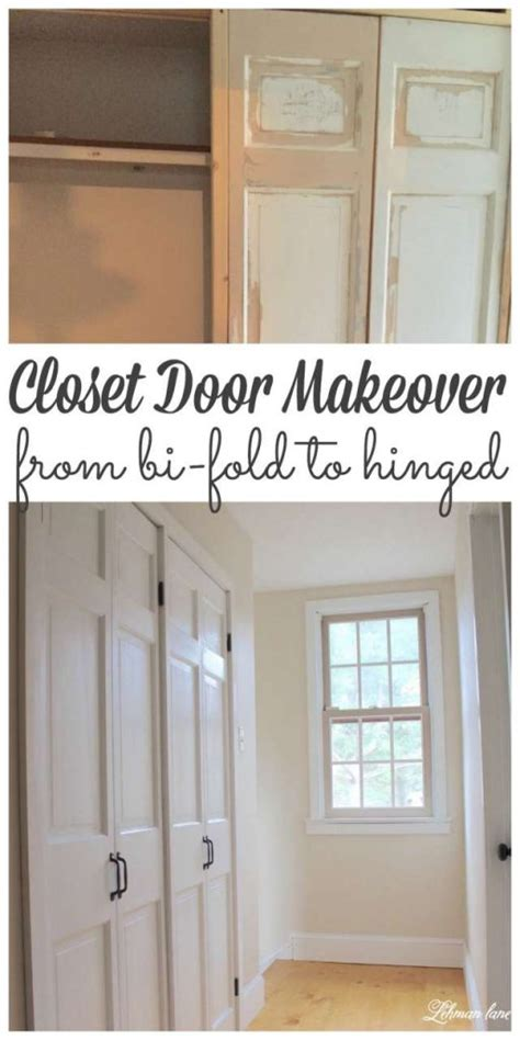 diy closet door makeover bi fold  hinged lehman lane