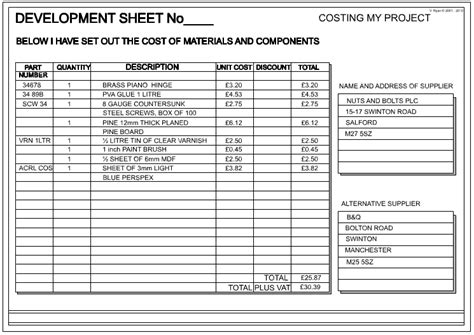 cost sheet template project costing excel images