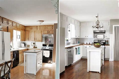 Paint Kitchen Cabinets White Before And After Home Painting Oak Kitchen Cabinets White Before And After