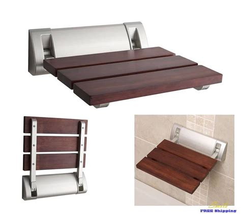wall mounted folding bench seat folding chair shower seat bath wall mounted wood luxury