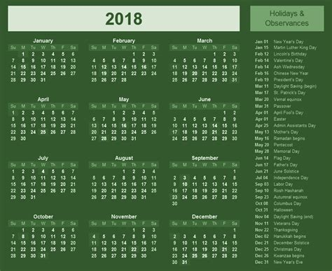 Calendar With Holidays For 2018 Holidays Archives 2018 Calendar Printable For Free