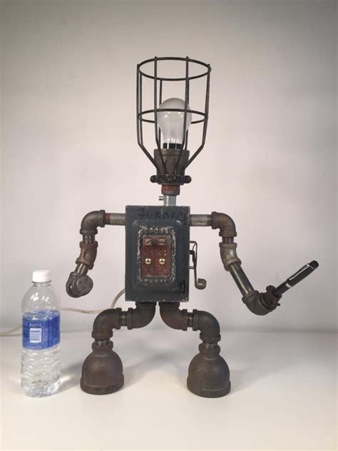 Robot Desk L by By Industro Rustro Steunk Robot Desk L Light Industrial Machine Age Salvage Ooak