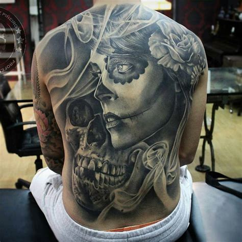 skull back tattoos 85 best sugar skull designs meanings 2018