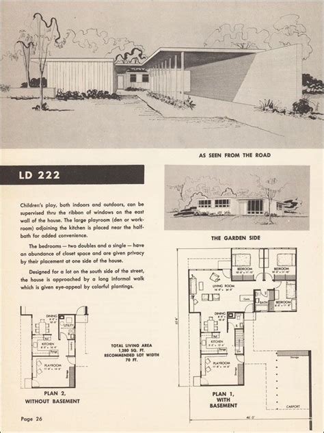 mid century modern floor plan house cottage