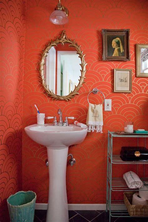 gold wallpaper in bathroom orange gold teal the bathroom pinterest