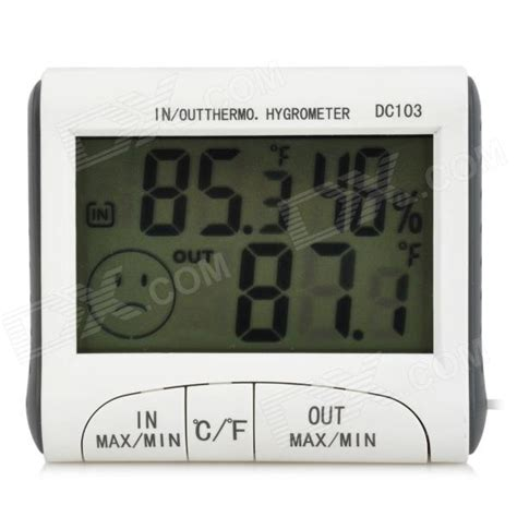 Termometer General Care dc103 2 9 quot lcd digital thermometer hygrometer w probe white grey 1 x aaa free