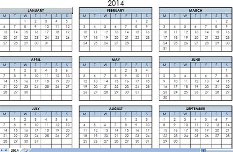 7 best images of year calendar 2014 printable one page