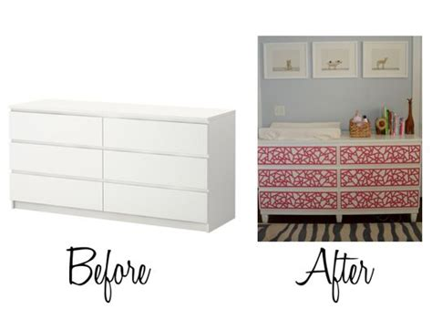 Adding Legs To Malm Dresser | bet i could use washi tape or wallpaper for the drawers