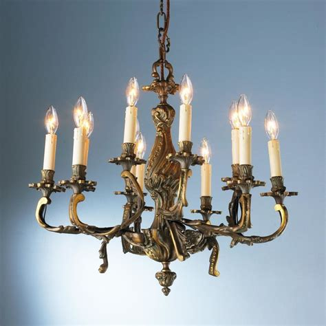 Antique 12 Light Bronze Rococo Chandelier Chandeliers Rococo Chandelier