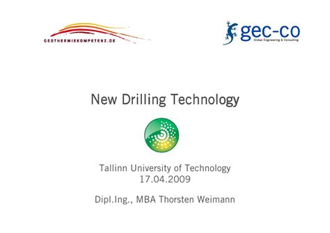 Mba Technology Consulting by New Drilling Technology By Dipl Ing Mba Thorsten Weimann