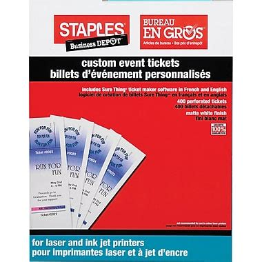 inkjet printable tickets office depot templates staples custom event tickets