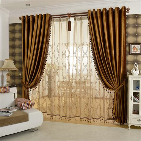 luxury drapes ready made luxury curtains solid flannel curtains ready made with braids colorful beige brown golden