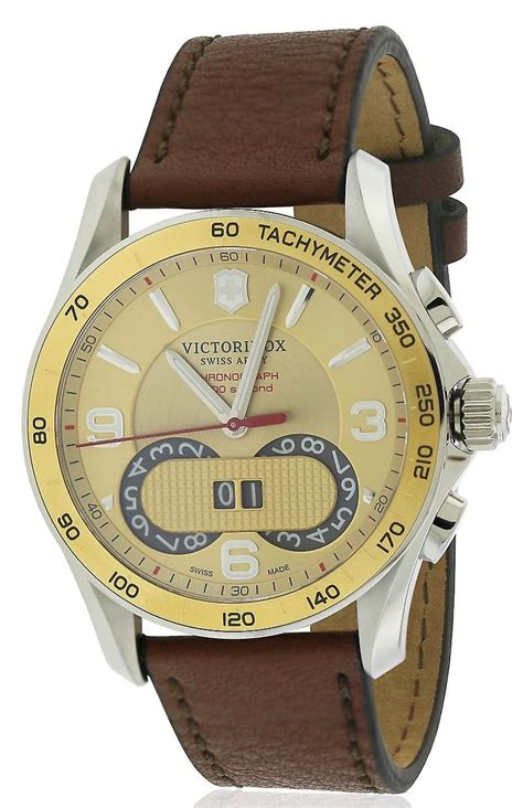 Swiss Army Leather Black Gold swiss army victorinox chronograph leather mens