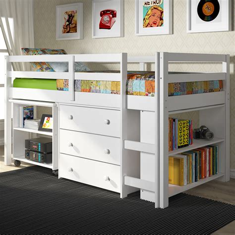 kids low loft bed furniture light wood bunk bed with drawers and ladder for