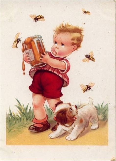 pug bee sting vintage illustration of boy with honey jar and bees clipart vintage children