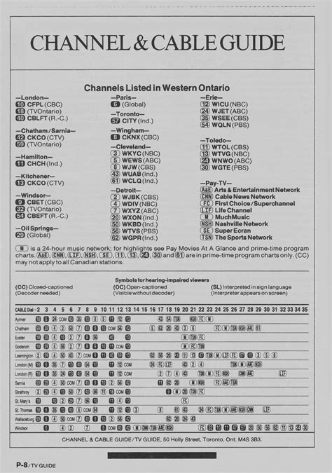 Vintage channel guide from Western Ontario Edition of TV