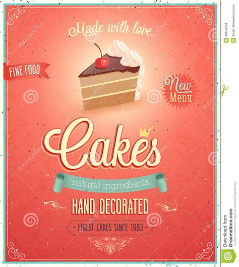Keset Kaki Printing Cake 2 Sale vintage cakes poster stock vector illustration of decor 38154394