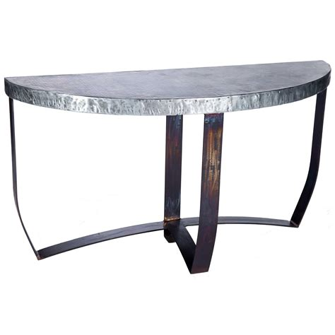 Zinc Top Console Table Pictured Here Is The Demi Lune Console Table With Wrought Iron Base And Hammered Zinc