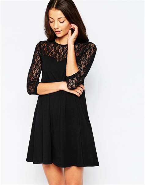 swing dress with lace sleeves lyst vero moda swing dress with contrast lace 3 4