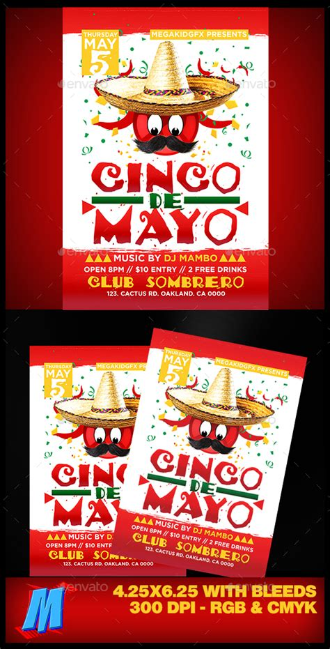 Cinco De Mayo Flyer Template By Megakidgfx Graphicriver Cinco De Mayo Template