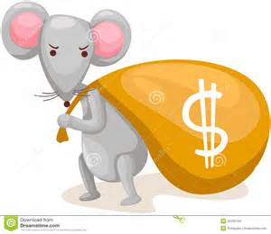 illustration of isolated cartoon mouse carry bag with money