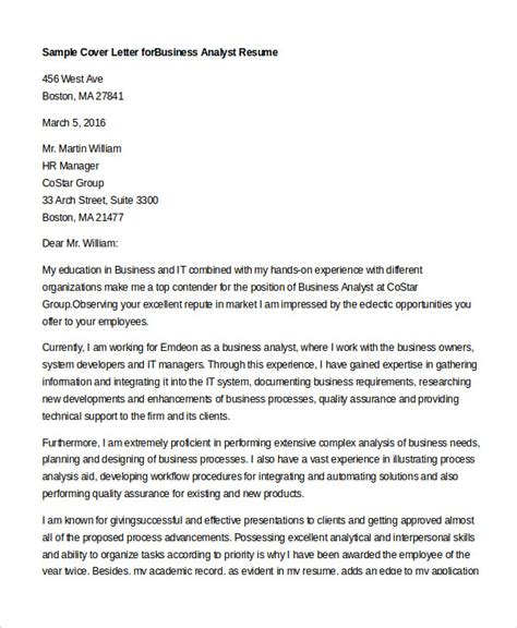 cover letter business analyst cover letter 13 free sle exle format free