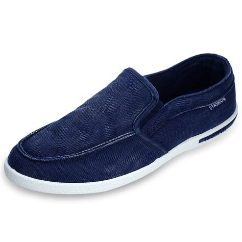 new summer canvas breathable slip on sneakers loafers mens