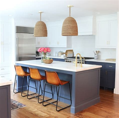 cb2 kitchen island before and after two toned kitchen reno home bunch