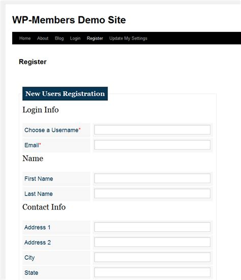 add section headings to the registration form