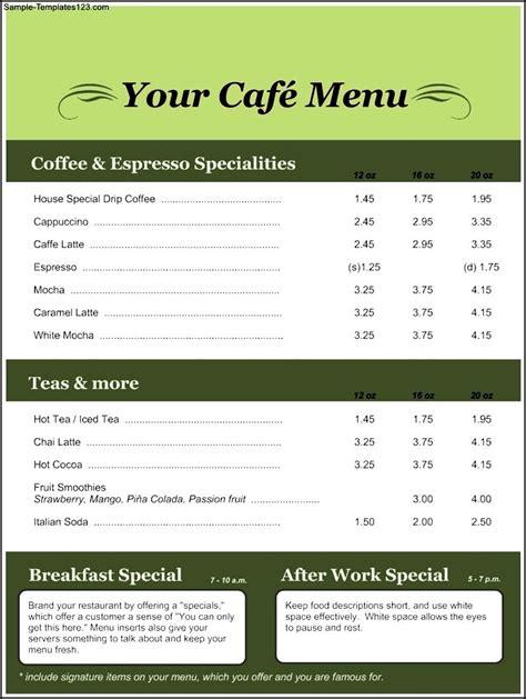 menu template sle templates