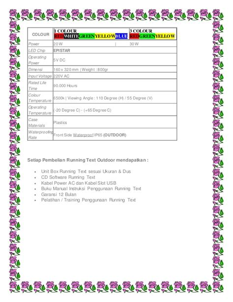 Ruuning Text Indoor daftar harga pricelist running text colour led murah