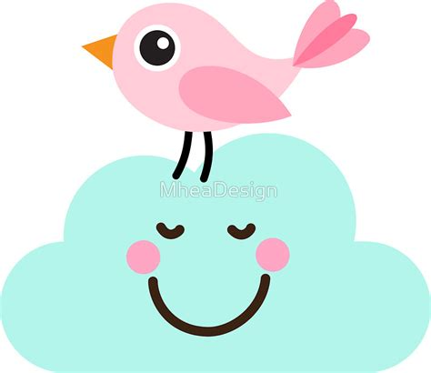 Clouds Wall Stickers quot cute pink bird on happy cloud stickers quot stickers by