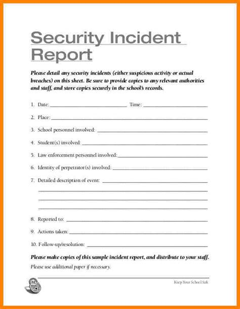sle of security guard incident report 29 images of security report template infovia net