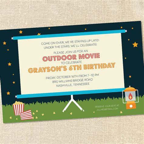 backyard movie night invitations sweet wishes outdoor movie under the stars party invitations