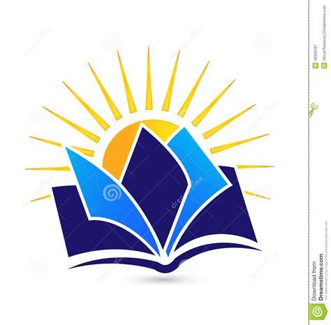 design logo book book and sun logo stock vector illustration of article