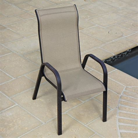 Sling Patio Chairs Bay 6 Person Sling Patio Dining Set With Stacking Chairs And Table By Lakeview