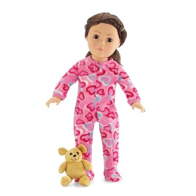 Pink Teddy Pajamas 18 inch doll clothes one footed pink with hearts