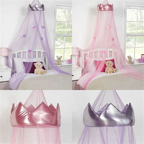 Childrens Bed Canopy Childrens Princess Crown Bed Canopy Insect Mosquito Net Pink Purple Ebay