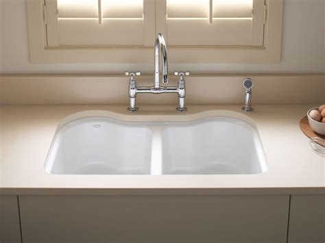 undermount kitchen sink with faucet holes standard plumbing supply product kohler k 5818 5u 0 hartland undermount double bowl kitchen