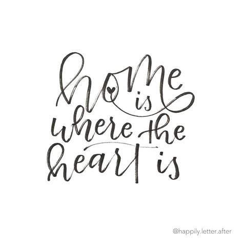 home is where the heart is tattoo lettering design home is where the is happily