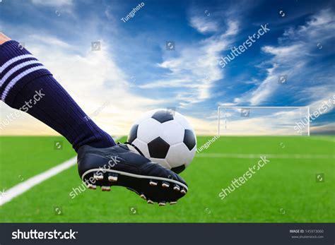 Soccer Kicking Net foot kicking soccer stock photo 145973060